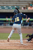 Yeison Santana (16) of the Myrtle Beach Pelicans at bat against the Lynchburg Hillcats at Bank of the James Stadium on May 23, 2021 in Lynchburg, Virginia. (Brian Westerholt/Four Seam Images)
