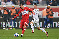 Bridgeview, IL - Saturday April 14, 2018: Nemanja Nikolic, Daniel Steres during a regular season Major League Soccer (MLS) match between the Chicago Fire and the LA Galaxy at Toyota Park.  The LA Galaxy defeated the Chicago Fire by the score of 1-0.