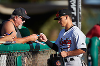 Visalia Rawhide Alek Thomas (9) signs an autograph for a fan before a California League game against the Modesto Nuts at John Thurman Field on September 1, 2019 in Modesto, California. Modesto defeated Visalia 6-5. (Zachary Lucy/Four Seam Images)