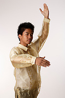 Montreal (Qc) CANADA - August 19 2009 - model released photo - asian (Filipino) male teen dressed in a barong, performing traditional dances