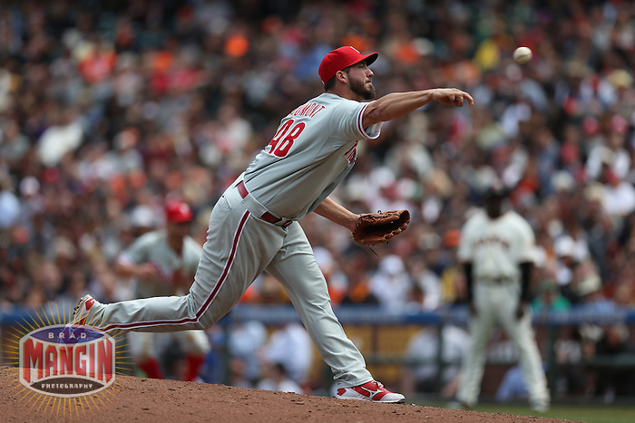 SAN FRANCISCO, CA - MAY 8:  Phillippe Aumont #48 of the Philadelphia Phillies pitches against the San Francisco Giants during the game at AT&T Park on Wednesday, May 8, 2013 in San Francisco, California. Photo by Brad Mangin