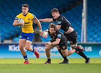 Bath Rugby's Cameron Redpath evades the tackle of Exeter Chiefs' Alec Hepburn<br /> <br /> Photographer Bob Bradford/CameraSport<br /> <br /> Gallagher Premiership Semi-Final - Exeter Chiefs v Bath Rugby - Saturday 10th October 2020 - Sandy Park - Exeter<br /> <br /> World Copyright © 2020 CameraSport. All rights reserved. 43 Linden Ave. Countesthorpe. Leicester. England. LE8 5PG - Tel: +44 (0) 116 277 4147 - admin@camerasport.com - www.camerasport.com