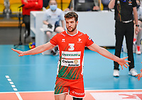 Argentinian Jan Martinez of Maaseik  pictured during a Volleyball game between Knack Volley Roeselare and Greenyard Maaseik , the third game in a best of five in the play offs in the 2020-2021 season , saturday 10 th April 2020 at the Schiervelde international Sportshall in Roeselare  , Belgium  .  PHOTO SPORTPIX.BE   DAVID CATRY