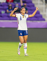 ORLANDO, FL - JANUARY 22: Lynn Williams #6 of the USWNT celebrates during a game between Colombia and USWNT at Exploria stadium on January 22, 2021 in Orlando, Florida.