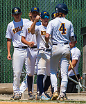 WATERBURY, CT 073121JS09 Midland's Carter Sunderman (4) is congratulated by teammates after being in a run on a sacrifice fly during their Mickey Mantle World Series baseball game against South Troy Saturday at Municipal Stadium in Waterbury. <br /> Jim Shannon Republican American