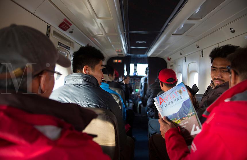 Kathmandu Nepal Packed morning flight of tourists headed to Tenzing-Hillary Airport Lukla near Mt Everest Nepal  50