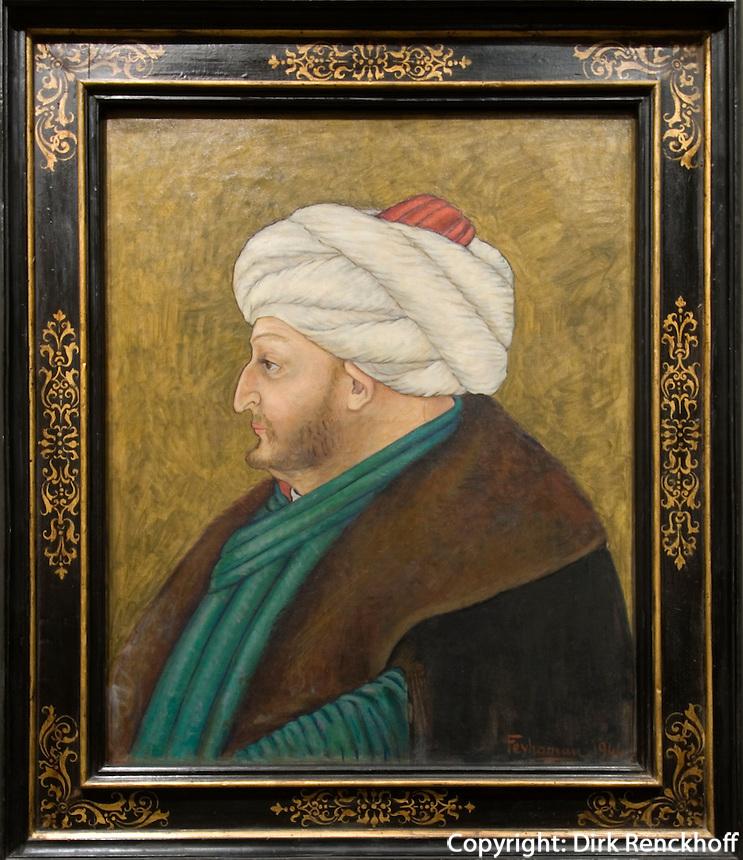 Türkei, im Sakip Sabaci Müzezi am Bosporos in Emirgan bei Istanbul, Portrait Fatih Sultan Mehmed gemalt 1944 von Duran Feyhaman
