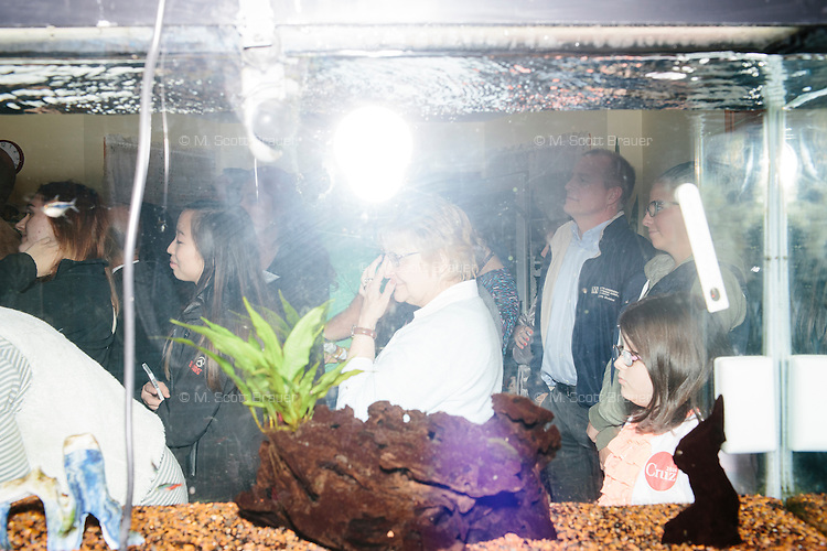 """People listen as Texas senator and Republican presidential candidate Ted Cruz speaks to attendees at an event called """"Smoke a cigar with Ted Cruz"""" at a house party at the home of Linda & Steven Goddu Salem, New Hampshire."""