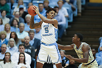 CHAPEL HILL, NC - JANUARY 4: Armando Bacot #5 of the University of North Carolina holds the ball during a game between Georgia Tech and North Carolina at Dean E. Smith Center on January 4, 2020 in Chapel Hill, North Carolina.