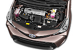 Car stock 2015 Toyota Grand Prius+ 5 Door Mini Van engine high angle detail view