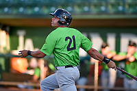 Aaron Schnurbusch (21) of the Great Falls Voyagers at bat against the Ogden Raptors in Pioneer League action at Lindquist Field on August 16, 2016 in Ogden, Utah. Ogden defeated Great Falls 2-1. (Stephen Smith/Four Seam Images)