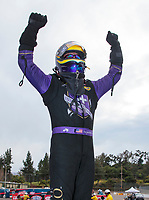 Feb 9, 2020; Pomona, CA, USA; NHRA funny car driver Jack Beckman celebrates after winning the Winternationals at Auto Club Raceway at Pomona. Mandatory Credit: Mark J. Rebilas-USA TODAY Sports