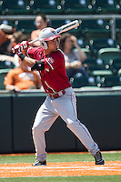 Oklahoma Sooners shortstop Jack Mayfield #8 at bat against the Texas Longhorns in the NCAA baseball game on April 6, 2013 at UFCU DischFalk Field in Austin, Texas. The Longhorns defeated the rival Sooners 1-0. (Andrew Woolley/Four Seam Images).