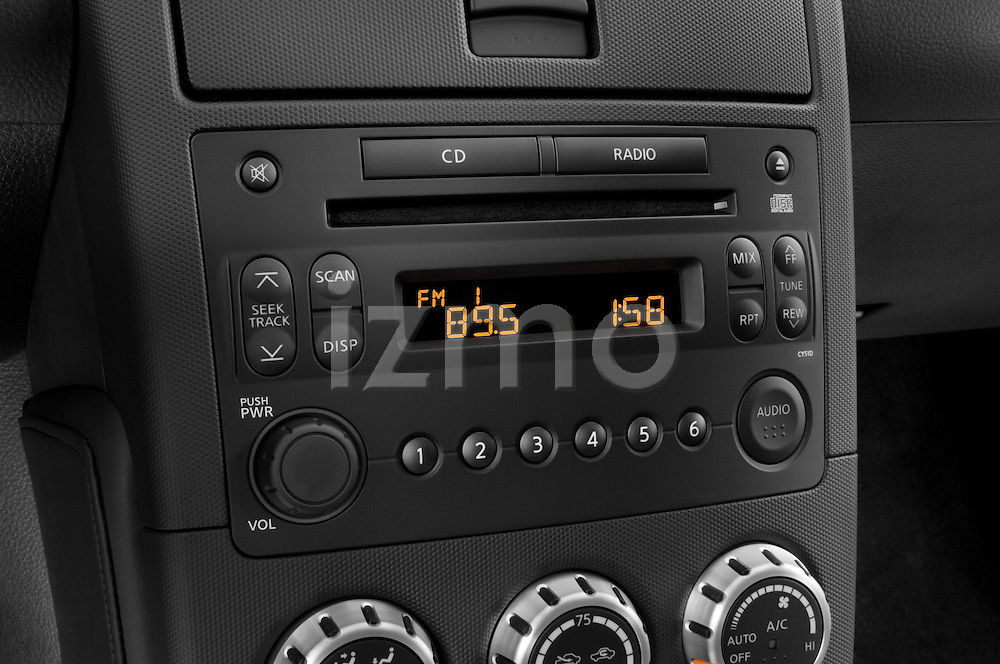 Stereo audio system close up detail view of a 2008 Nissan 350z