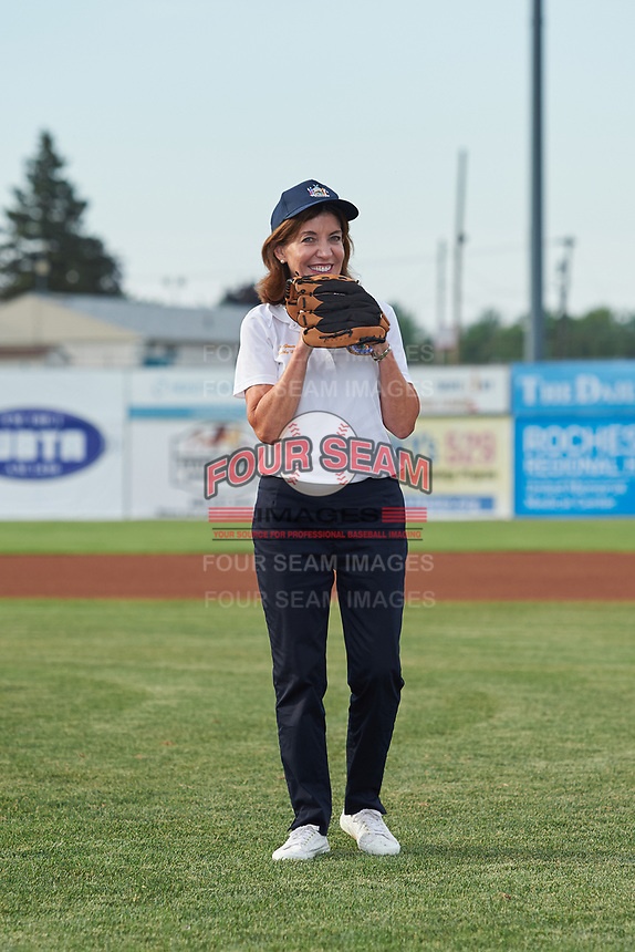 Lieutenant Governor Kathy Hochul gets ready to throw out a ceremonial first pitch at a Batavia Muckdogs game against the Auburn Doubledays on July 6, 2017 at Dwyer Stadium in Batavia, New York.  Auburn defeated Batavia 4-3.  (Mike Janes/Four Seam Images)