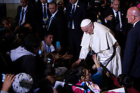 BOGOTÁ - COLOMBIA, 09-09-2017:  El Papa Francisco saluda a los feligreses a su llegada a la Nunciatura Apostolica en el cuarto día en Colombia. El Papa Francisco realiza la visita apostólica a Colombia entre el 6 y el 11 de septiembre de 2017 llevando su mensaje de paz y reconciliación por 4 ciudades: Bogotá, Villavicencio, Medellín y Cartagena. / Pope Francisco greet the parishioners during his arrive to Apostolic Nunciature in his fourth day in Colombia. Pope Francisco makes the apostolic visit to Colombia between September 6 and 11, 2017, bringing his message of peace and reconciliation to 4 cities: Bogota, Villavicencio, Medellin and Cartagena. Photo: VizzorImage /  Inaldo Perez / Cont