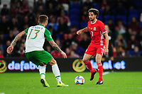 Jeff Hendrick of Republic of Ireland battles with Joe Allen of Wales during the UEFA Nations League B match between Wales and Ireland at Cardiff City Stadium in Cardiff, Wales, UK.September 6, 2018