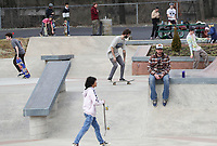 ANDREW SHURTLEFF/THE DAILY PROGRESS <br /> The street course was filled with riders on opening day at the new Charlottesville skatepark. The grand opening will be held April 20th.