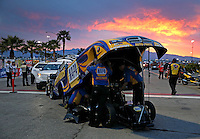 Apr. 5, 2013; Las Vegas, NV, USA: The sun sets behind NHRA funny car driver Ron Capps in the staging lanes during qualifying for the Summitracing.com Nationals at the Strip at Las Vegas Motor Speedway. Mandatory Credit: Mark J. Rebilas-