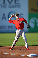 Williamsport Crosscutters third baseman Lucas Williams (12) warm-up throw to first during a game against the Auburn Doubledays on June 25, 2016 at Falcon Park in Auburn, New York.  Auburn defeated Williamsport 5-4.  (Mike Janes/Four Seam Images)
