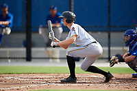 Pittsburgh Pirates pitcher Travis MacGregor (41) squares to bunt during an Instructional League game against the Toronto Blue Jays on October 14, 2017 at the Englebert Complex in Dunedin, Florida.  (Mike Janes/Four Seam Images)