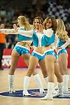 Cheerleaders dancing during 2014-15 Euroleague Basketball match between Real Madrid and Anadolu Efes at Palacio de los Deportes stadium in Madrid, Spain. December 18, 2014. (ALTERPHOTOS/Luis Fernandez)