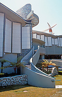 Bruce Goff: Japanese Pavilion, LACMA. North side. (Picture taken through fence--side closed to public.  Photo '89.