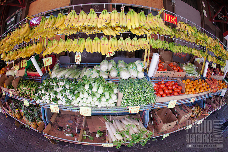 Fresh produce for sale in the Chinatown open market in Honolulu, O'ahu