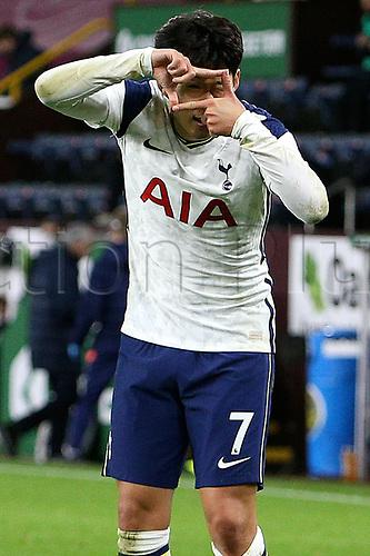 26th October 2020, Turf Moor, Burnley UK; EPL Premier League football, Burnley v Tottenham Hotspur; Goal 0-1 Tottenham Hotspur forward Son Heung-Min (7) takes a picture to celebrate his goal for 0-1