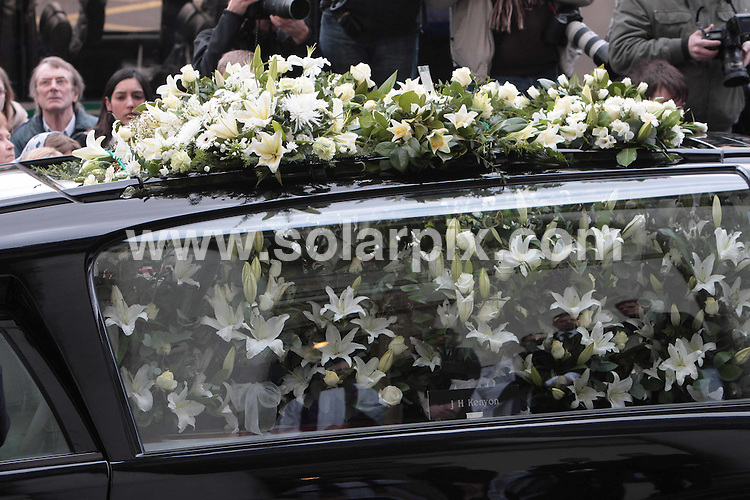 **ALL ROUND PICTURES FROM SOLARPIX.COM**.**NO UK NEWSPAPER PUBLICATION**.**UK MAGAZINE & SUPPLEMENT PUBLICATION ONLY** AND NO PUBLICATION IN AUSTRALIA, FRANCE, GERMANY, ITALY AND SCANDINAVIA** .The funeral of the long running UK TV soap Eastenders actress Wendy Richards, which took place at the St Marylebone Parish Church in central London this afternoon. London, UK. 09_03_2009..This pic: Wendy Richards funeral..JOB REF: 8618 SFE       DATE: 09_03_2009.**MUST CREDIT SOLARPIX.COM OR DOUBLE FEE WILL BE CHARGED**.**ONLINE USAGE FEE GBP 50.00 PER PICTURE - NOTIFICATION OF USAGE TO PHOTO @ SOLARPIX.COM**.**CALL SOLARPIX : +34 952 811 768 or LOW RATE FROM UK 0844 617 7637**