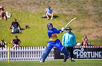 Otago's Hayley Jensen bats during the Hallyburton Johnstone Shield women's cricket match between Wellington Blaze and Otago Sparks at the Basin Reserve in Wellington, New Zealand on Sunday, 14 March 2021. Photo: Dave Lintott / lintottphoto.co.nz