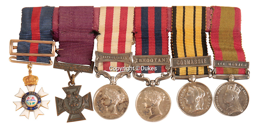 BNPS.co.uk (01202 558833)<br /> Pic:  Dukes/BNPS<br /> <br /> The medals of Major General Reginald Sartorius - as well as his VC he served all over the British Empire.<br /> <br /> The extraordinary story of two hero brothers who both received the Victoria Cross can be told after their bravery medals emerged for sale.<br /> <br /> Major General Reginald Sartorius was awarded the highest honour for gallantry after he rescued a wounded comrade under heavy fire during an African campaign in 1874.<br /> <br /> Major General Euston Sartorius followed in his footsteps five years later, earning a VC for leading his men in a daring offensive on a heavily guarded hill in Afghanistan, overcoming seemingly insurmountable odds. His small force engaged in a sword fight with the 'fanatical' enemy atop the hill, slaying seven of them.<br /> <br /> They are one of just four sets of brothers who have received VCs since the award was introduced by Queen Victoria in 1856 to honour acts of bravery during the Crimean War.<br /> <br /> The miniatures of their VCs are being sold by their descendants with auction house Dukes, of Dorchester, Dorset, who expect them to fetch £20,000.