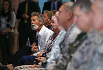 The crowd watches the Nevada National Guard Combat Veterans Remembrance Day ceremony at the Office of the Adjutant General in Carson City, Nev., on Friday, April 17, 2015. A tribute wall with the names of about 2,700 Nevada National Guard Soldiers and Airmen deployed into combat zones since Sept. 11, 2001 was unveiled. <br /> Photo by Cathleen Allison