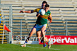 Paul Geaney, Kerry, in action against Cian O Dea, Clare, during the Munster Football Championship game between Kerry and Clare at Fitzgerald Stadium, Killarney on Saturday.
