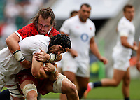 10th July 2021; Twickenham, London, England; International Rugby Union England versus Canada; Locks locked in combat, Charlie Ewels of England holding onto possession through contact