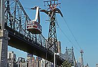 New York City: Overhead Tramway, Roosevelt Island, East River. Photo '78.