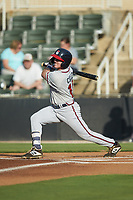 Greg Cullen (18) of the Rome Braves follows through on his swing against the Kannapolis Intimidators at Kannapolis Intimidators Stadium on July 2, 2019 in Kannapolis, North Carolina.  The Intimidators walked-off the Braves 5-4. (Brian Westerholt/Four Seam Images)