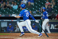 Ryan Johnson (28) of the Kentucky Wildcats follows through on his swing against the Louisiana Ragin' Cajuns in game seven of the 2018 Shriners Hospitals for Children College Classic at Minute Maid Park on March 4, 2018 in Houston, Texas.  The Wildcats defeated the Ragin' Cajuns 10-4. (Brian Westerholt/Four Seam Images)