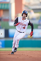 Arkansas Travelers second baseman Jeff Kobernus (4) runs the bases during a game against the Midland RockHounds on May 25, 2017 at Dickey-Stephens Park in Little Rock, Arkansas.  Midland defeated Arkansas 8-1.  (Mike Janes/Four Seam Images)