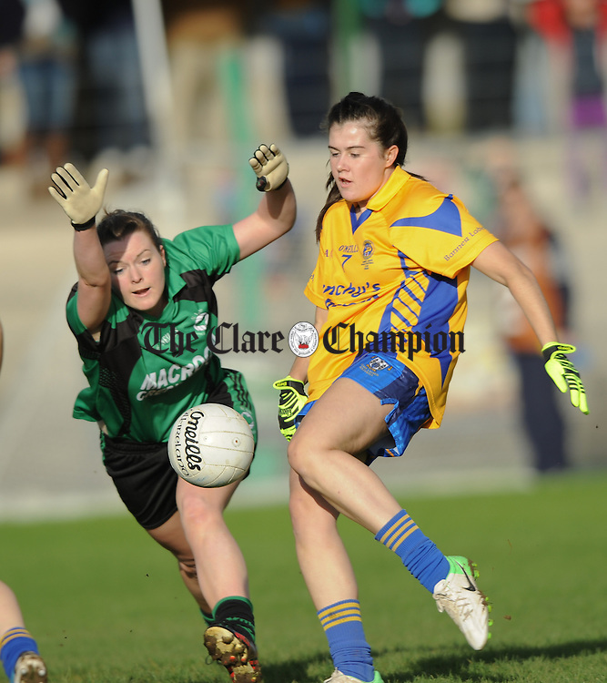 Orlaith Lynch of The Banner in action against Niamh Liz Coholan of St Valentine's during their Senior Ladies Munster football final at Kilmallock. Photograph by John Kelly.