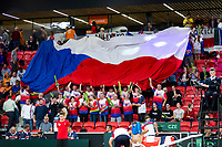 The Hague, The Netherlands, September 15, 2017,  Sportcampus , Davis Cup Netherlands - Chech Republic, First Rubber: Chech supporters unfold a giant banner flag<br /> Photo: Tennisimages/Henk Koster