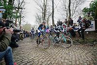 Iljo Keisse (BEL) leading up the Muur van Geraardsbergen<br /> <br /> Omloop Het Nieuwsblad 2014