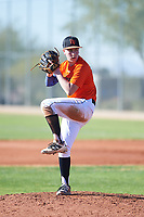 Blake Bonds (45), from Kennewick, Washington, while playing for the Orioles during the Under Armour Baseball Factory Recruiting Classic at Red Mountain Baseball Complex on December 28, 2017 in Mesa, Arizona. (Zachary Lucy/Four Seam Images)