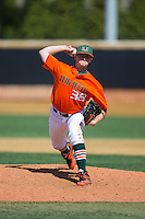 Miami Hurricanes relief pitcher Daniel Briggi (38) in action against the Wake Forest Demon Deacons at Wake Forest Baseball Park on March 22, 2015 in Winston-Salem, North Carolina.  The Demon Deacons defeated the Hurricanes 10-4.  (Brian Westerholt/Four Seam Images)