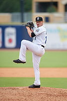 Biloxi Shuckers relief pitcher Nate Griep (24) during a Southern League game against the Montgomery Biscuits on May 8, 2019 at MGM Park in Biloxi, Mississippi.  Biloxi defeated Montgomery 4-2.  (Mike Janes/Four Seam Images)