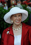 09 August 15: The matriarch of Saratoga, Marylou Whitney, in the winner's circle after her horse Ninth Client won the 8th race at Saratoga Race Track in Saratoga Springs, New York.