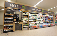 Hot drinks and food to go section