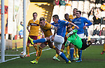 Motherwell v St Johnstone...31.01.15    SPFL<br /> Tam Scobbie is denied by Craig Reid<br /> Picture by Graeme Hart.<br /> Copyright Perthshire Picture Agency<br /> Tel: 01738 623350  Mobile: 07990 594431
