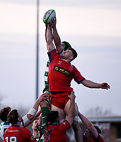 20th February 2021; Trailfinders Sports Club, London, England; Trailfinders Challenge Cup Rugby, Ealing Trailfinders versus Doncaster Knights; Conor Joyce of Doncaster Knights competes for the ball at the lineout with Adam Korczyk of Ealing Trailfinders