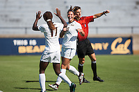 BERKELEY, CA - Sept 16th, 2016: Cal's (10) Arielle Ship celebrates scoring her second goal with (17) Abigail Kim. Cal Women's Soccer played the University of San Francisco on Goldman Field at Edwards Stadium.